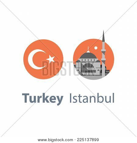 Turkey travel destination, Istanbul symbol, Sultan Ahmed Mosque or Blue Mosque, famous landmark, tourism concept, culture and architecture, round flag, vector icon, flat illustration