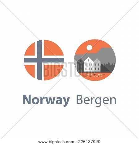 Norway travel destination, Bergen, row of houses by the water, Scandinavia, tourism concept, famous landmark, round flag, vector icon, flat illustration
