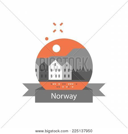 Norway travel destination, Bergen, row of houses by the water, Scandinavia, tourism concept, famous landmark, vector icon, flat illustration