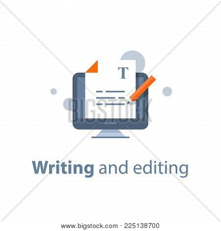 Online education, creative writing and storytelling, copywriting concept, editing text document, distant learning, vector illustration