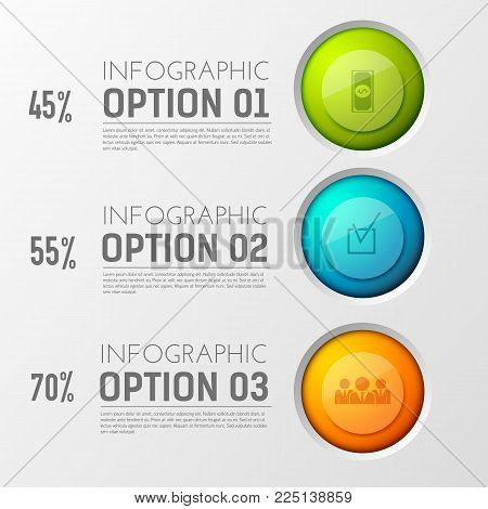 Infographic business concept with three interactive poll options with appropriate percentage value text captions and icons vector illustration