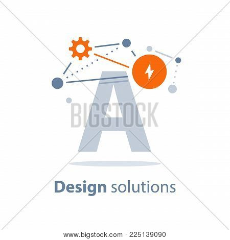 Design solutions, innovative technology, entertainment concept, educational resources, creativity, vector illustration