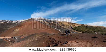 Silvestri craters and mount Etna Volcano with snow, Sicily island, Catania, Italy (Sicilia, Italia) Europe