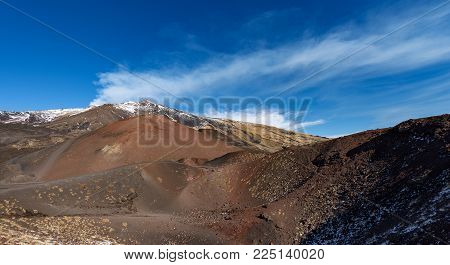 Silvestri Craters And Mount Etna Volcano With Snow, Sicily Island, Catania, Italy (sicilia, Italia)