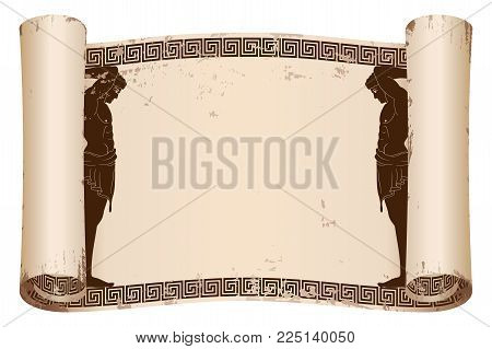 Ancient Greek papyrus with two Atlant and a national ornament. Old beige paper with the aging effect isolated on white background.