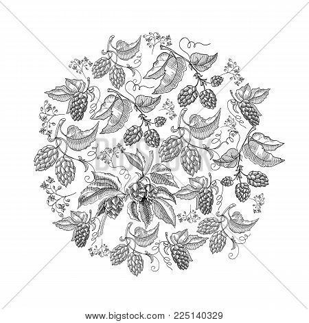 Circle pattern hop foliated doodle with repeating beautiful berries on white background hand drawing vector illustration