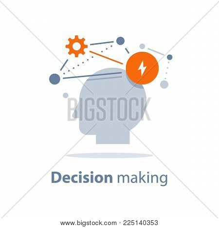Decision making, emotional intelligence, positive mindset, psychology and neurology, social skills, behavior science, creative thinking, human head, learning concept, vector icon, flat illustration