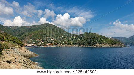 Panoramic View Of Bonassola With The Beach, Ancient Village In The Ligurian Coast, La Spezia, Liguri
