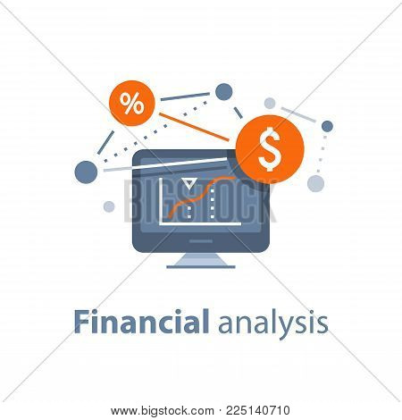 Investment strategy, financial analysis, hedge fund, venture business, mutual fund, trust management, interest rate, capital growth, data review on desktop, stock market and exchange, accountancy icon poster
