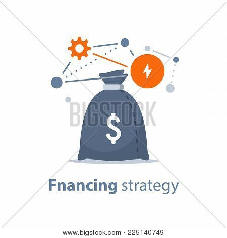 Start up investment, strategy and analysis, hedge fund, venture business, mutual fund, trust management, interest rate, capital growth, technology and innovation grant, win prize, vector icon
