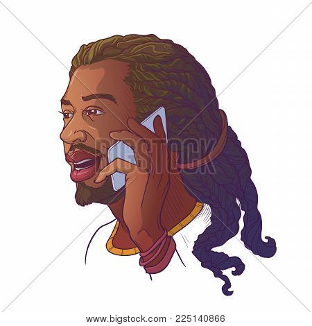 Afro-American young man with dreadlocks speaking on the phone and smiling. Colored linear sketch isolated n white background. EPS10 vector illustration