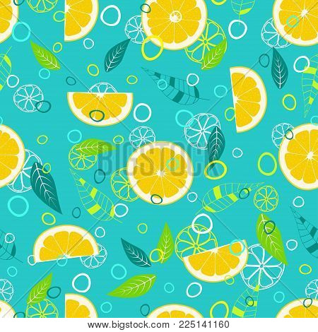 juicy fruit pattern with lemon, leaves, circles and citrus background elements, fruit background with yellow slices of lemon on blue