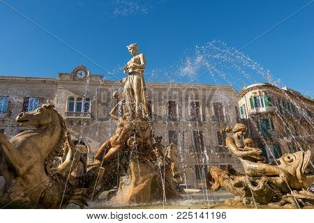 Close-up Of The Fountain Of Diana, Archimedes Square (1907 By Giulio Moschetti) In Downtown Of Ortig