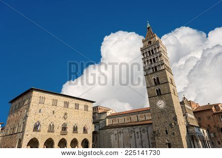 The Cathedral of San Zeno (St. Zeno) X century in Piazza Duomo (Cathedral square). Pistoia, Tuscany, Italy, Europe