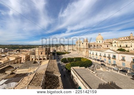 Cityscape of Noto with the cathedral of St. Nicholas of Myra (San Nicolo), small town near Syracuse (Siracusa), Sicily island, Italy, Europe