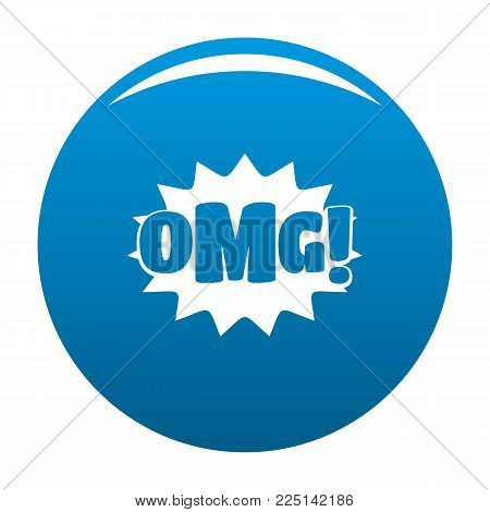 Comic boom omg icon vector blue circle isolated on white background