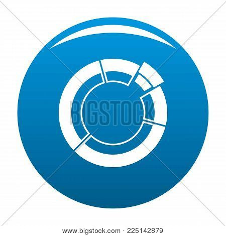 Circle chart icon vector blue circle isolated on white background