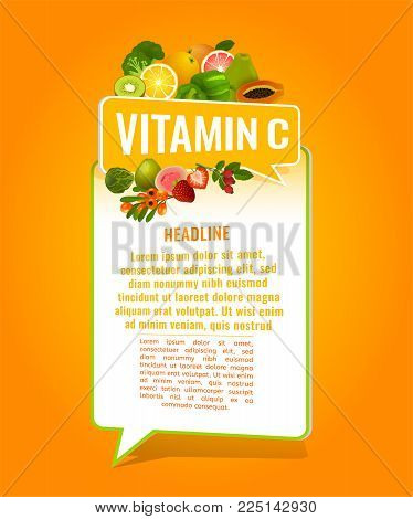 Vitamin C banner with place for text. Beautiful vertical vector illustration with caption lettering and top foods highest in vitamin C isolated on a bright orange background. Useful design element.
