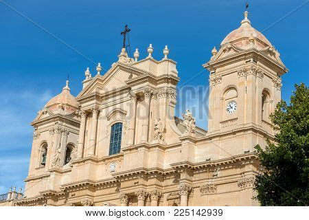 Closeup of the basilica and cathedral of St. Nicholas of Myra (San Nicolo) in Sicilian baroque style. In the small town of Noto, Syracuse, Sicily island, Italy