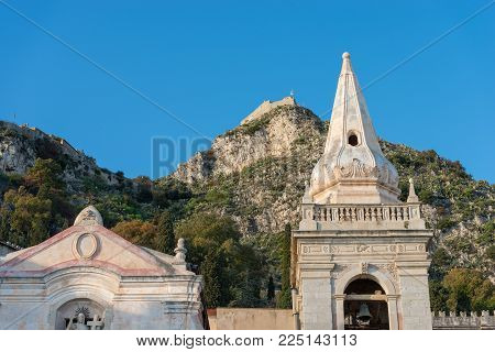 Close Up Of The Church Of San Giuseppe (st. Joseph) And The Hills In The Taormina Town, Messina, Sic