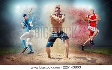Collage of team sport players in action around color splash drops undrer stadium lights, baseball, basketball, soccer, footbal professional sports people.