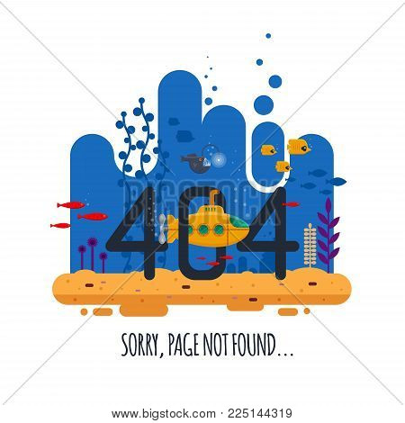 404 error page not found concept with undersea world isolated on white background. Yellow submarine with periscope - flat vector illustration.