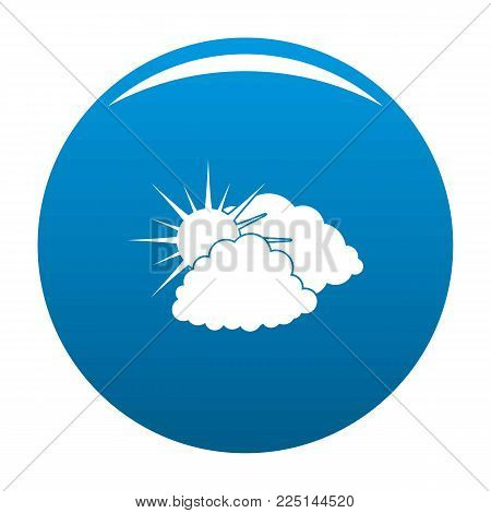 Dark cloudy sun icon vector blue circle isolated on white background