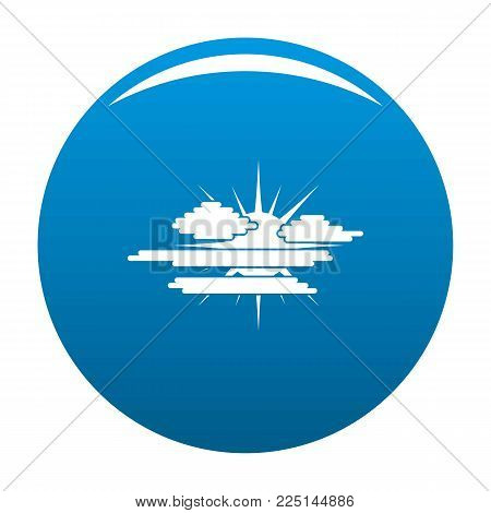 Cloudy sun icon vector blue circle isolated on white background