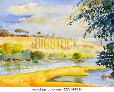 Watercolor landscape original painting colorful of river and mountain forest with sky cloud  background, in beauty nature autumn season. Painted impressionist, illustration image