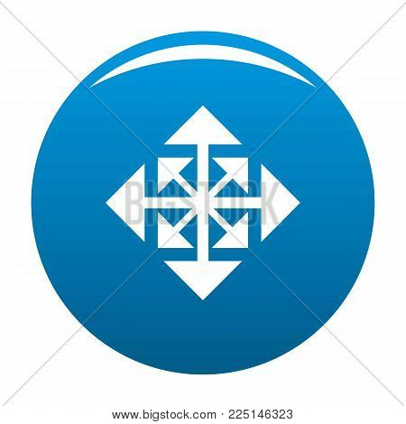 Cursor displacement arrow icon vector blue circle isolated on white background