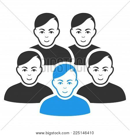 Men Collective vector flat pictograph. Person face has joy emotion. Faced men collective.