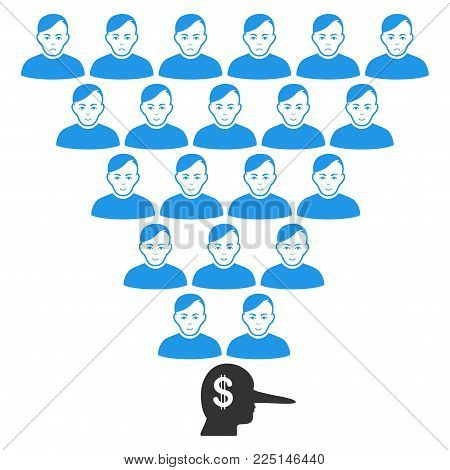 Ponzi Pyramid Manager vector flat icon. Person face has joy mood. Faced ponzi pyramid manager.
