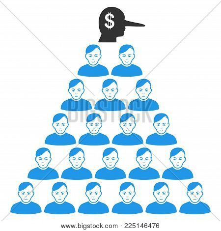 Ponzi Pyramid Manager vector flat pictogram. Person face has joy sentiment. Faced ponzi pyramid manager.