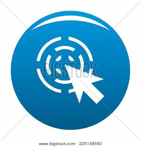 Cursor interactive icon vector blue circle isolated on white background