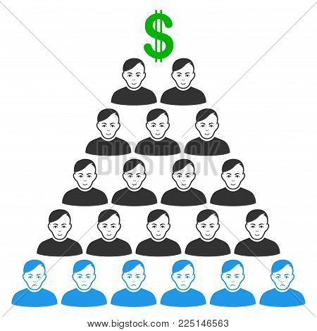 Ponzi Pyramid Scheme vector flat icon. Person face has joy feeling. Faced ponzi pyramid scheme.