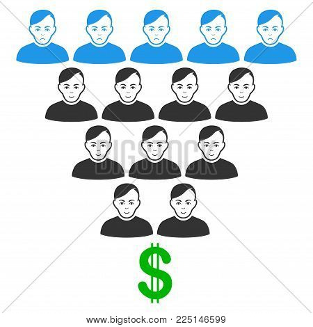 Ponzi Pyramid Scheme vector flat pictograph. Person face has joy mood. Faced ponzi pyramid scheme.