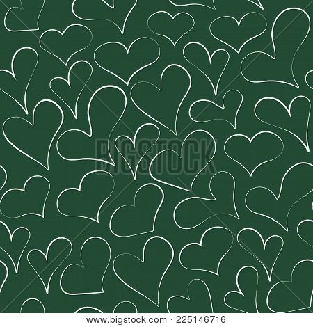 Sketched outline heart on chalkboard seamless pattern. Many hand drawn cartoon chalk hearts on green board. Vector line illustration for cloth texture, love poster, wedding card or web background.
