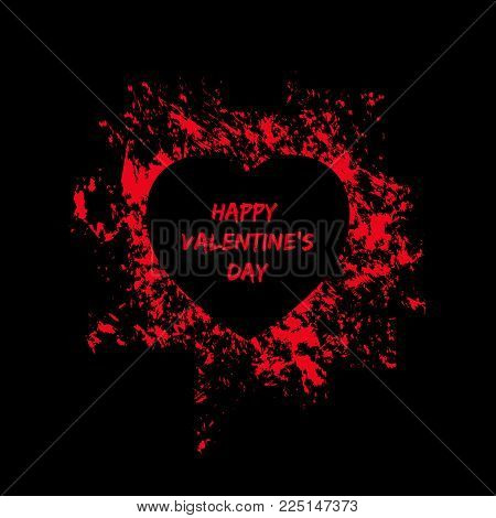 Happy Valentines Day card. Black heart shape in a frame of red paint splashes. Destroyed love symbol with passion. Dark style vector illustration for using in poster, web banner or party flyer.