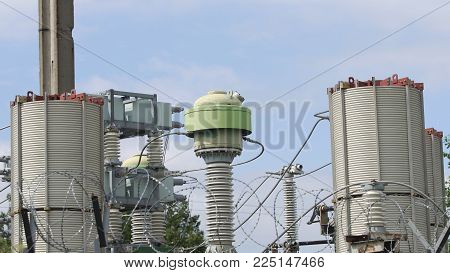 Aerial view Power plant, transformation station, cables and wires. Electrical power transformer in high voltage substation. High voltage electric power substation.