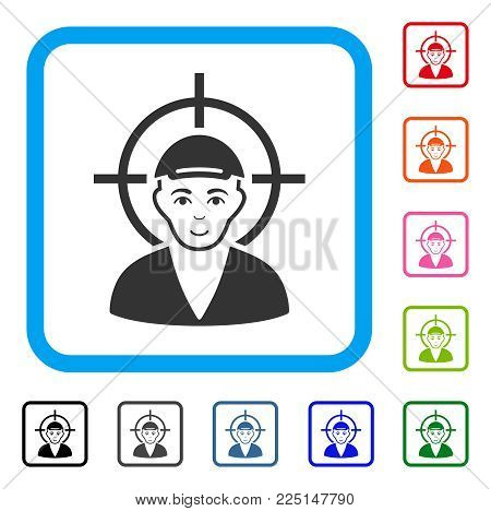 Joy Target Boy vector pictograph. Human face has enjoy sentiment. Black, grey, green, blue, red, orange color additional versions of target boy symbol inside a rounded frame. A dude wearing a cap.