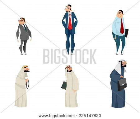 Vector illustration of six suspicious wary business partners
