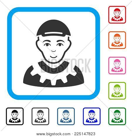 Joyful Worker vector icon. Person face has enjoy sentiment. Black, gray, green, blue, red, orange color versions of worker symbol in a rounded square. A guy wearing a cap.