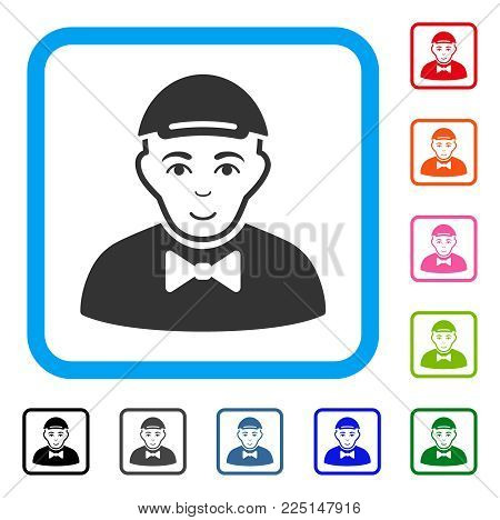 Smiling Gentleman vector pictograph. Human face has enjoy emotion. Black, gray, green, blue, red, orange color variants of gentleman symbol inside a rounded rectangular frame. A guy wearing a cap.