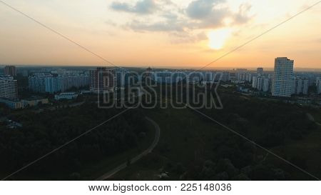 Aerial view Moscow Skyline of big city full of skyscrapers at sunset. Urban landscape of large cities with modern buildings.