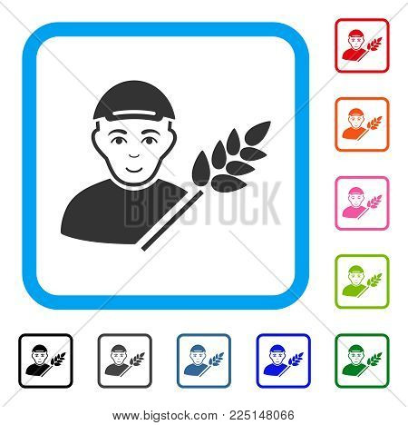 Smiling Rice Farmer vector icon. Person face has glad sentiment. Black, gray, green, blue, red, orange color versions of rice farmer symbol inside a rounded rectangular frame.