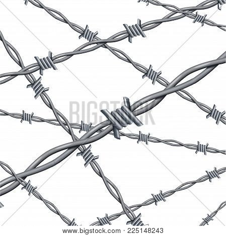 Realistic 3d Detailed Barbed Wire Iron Line Background Card Barb Element Accessibility Construction. Vector illustration of Barbwire Sign