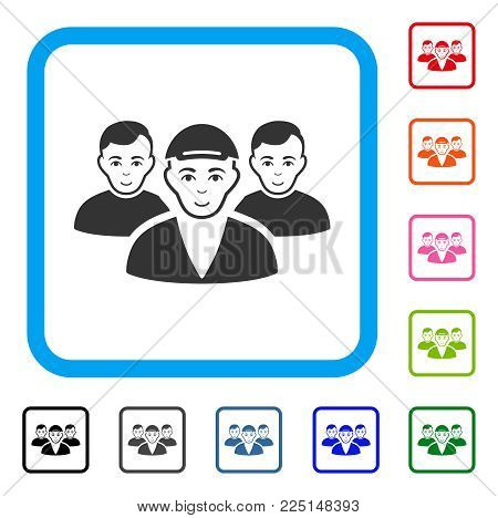 Happy Boy Friends vector pictograph. Human face has happy emotions. Black, gray, green, blue, red, orange color additional versions of boy friends symbol inside a rounded rectangle.