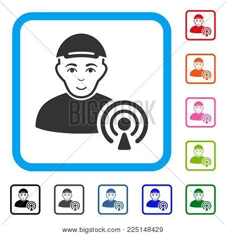 Enjoy Podcast Creator vector pictogram. Human face has joy emotions. Black, grey, green, blue, red, orange color additional versions of podcast creator symbol in a rounded frame. A boy in a cap.