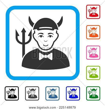 Joy Devil vector pictogram. Person face has cheerful feeling. Black, gray, green, blue, red, pink color versions of devil symbol in a rounded squared frame. A dude in a cap.