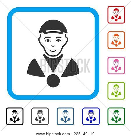 Happy Champion vector pictograph. Person face has joy feeling. Black, grey, green, blue, red, orange color versions of champion symbol inside a rounded square. A male person with a cap.